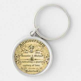 50th Anniversary Gold Monogram Silver-Colored Round Keychain