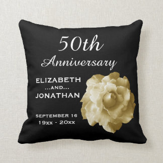 50th Anniversary Gold Rose A01G Throw Pillow