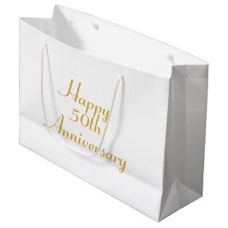 50th Anniversary Gold Text Template Gift Bag
