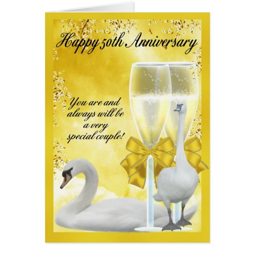 Th anniversary golden greeting card zazzle