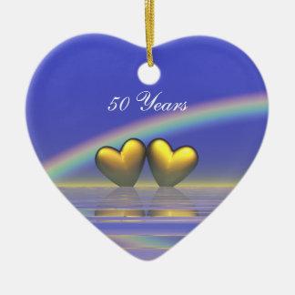 50th Anniversary Golden Hearts Ceramic Heart Ornament