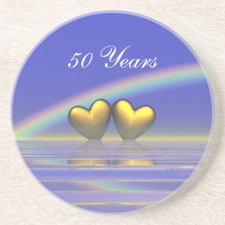 50th Anniversary Golden Hearts Coaster