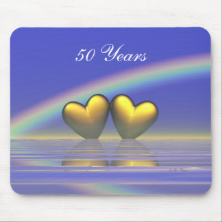 50th Anniversary Golden Hearts Mouse Pad