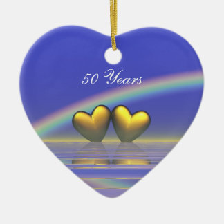 50th Anniversary Golden Hearts Double-Sided Heart Ceramic Christmas Ornament