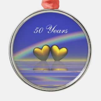 50th Anniversary Golden Hearts Round Metal Christmas Ornament