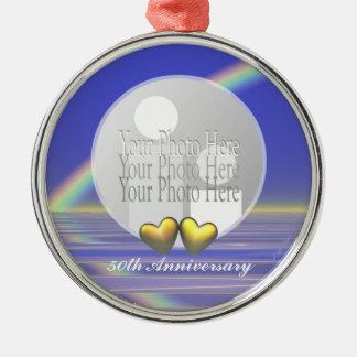 50th Anniversary Golden Hearts (photo frame) Silver-Colored Round Ornament