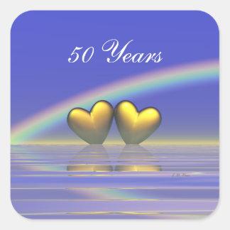 50th Anniversary Golden Hearts Square Sticker