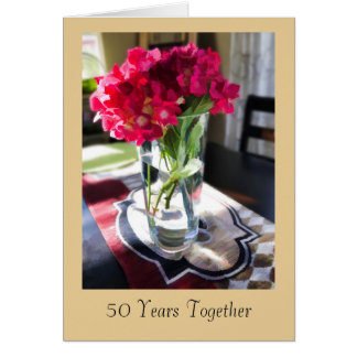 50th Anniversary Greeting Card with Red Flowers