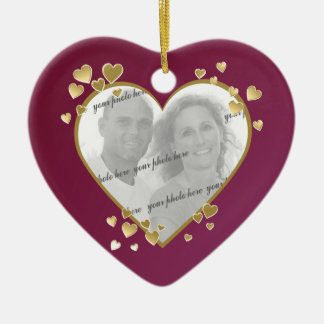 50th Anniversary Heart Photo Keepsake Ceramic Heart Ornament