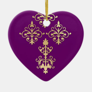 50th Anniversary Indian Purple Gold Damask Ceramic Heart Ornament