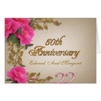 50th anniversary invitation card elegant roses