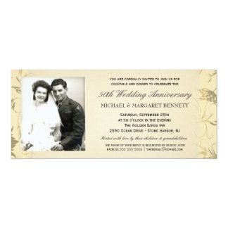 50th Anniversary Invitations - Victorian Floral