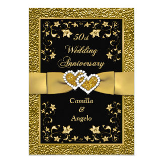 50th Anniversary Joined Hearts Wedding Invite 3