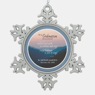50th Anniversary of Ordination Congratulations Snowflake Pewter Christmas Ornament