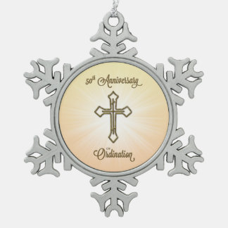 50th Anniversary of Ordination, Gold Cross on Star Pewter Snowflake Ornament
