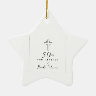 50th Anniversary of Priest with Embossed Cross Ceramic Ornament