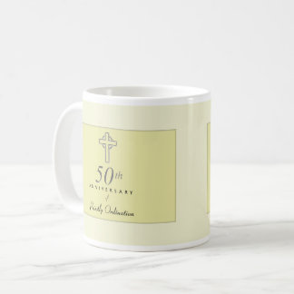 50th Anniversary of Priest with Embossed Cross Coffee Mug