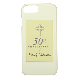 50th Anniversary of Priest with Embossed Cross iPhone 8/7 Case