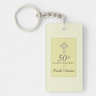 50th Anniversary of Priest with Embossed Cross Keychain