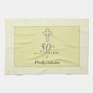50th Anniversary of Priest with Embossed Cross Kitchen Towel