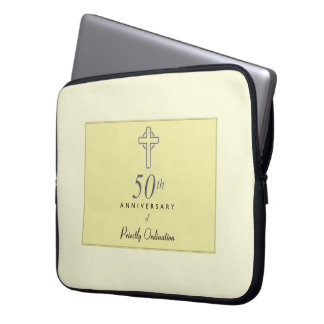 50th Anniversary of Priest with Embossed Cross Laptop Sleeve