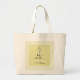 50th Anniversary of Priest with Embossed Cross Large Tote Bag