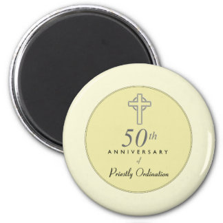 50th Anniversary of Priest with Embossed Cross Magnet