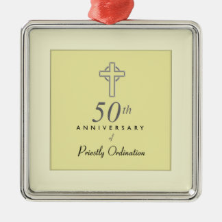 50th Anniversary of Priest with Embossed Cross Metal Ornament
