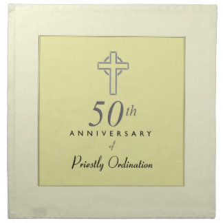 50th Anniversary of Priest with Embossed Cross Napkin