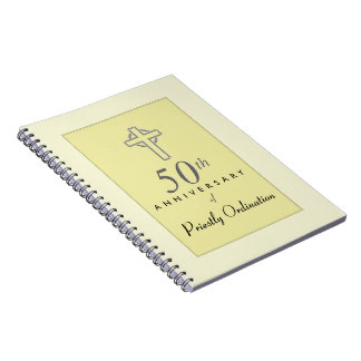 50th Anniversary of Priest with Embossed Cross Notebooks