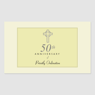 50th Anniversary of Priest with Embossed Cross Sticker