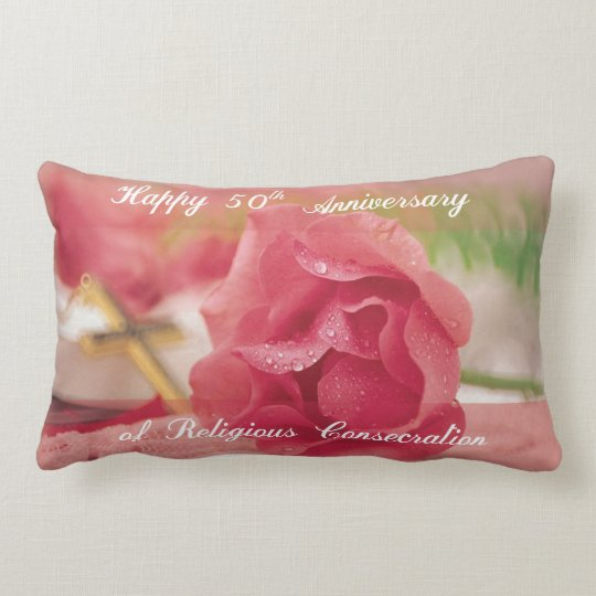 50th Anniversary of Religious Consecration Rose Lumbar Pillow
