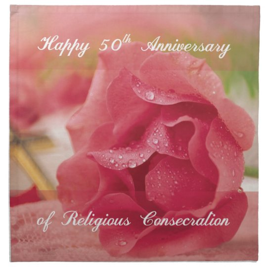 50th Anniversary of Religious Consecration Rose Napkin
