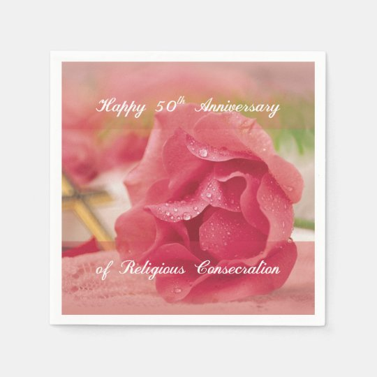 50th Anniversary of Religious Consecration Rose Paper Napkin