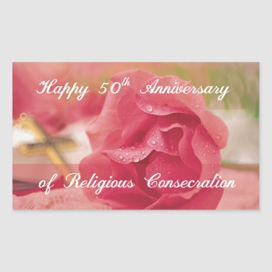 50th Anniversary of Religious Consecration Rose Sticker