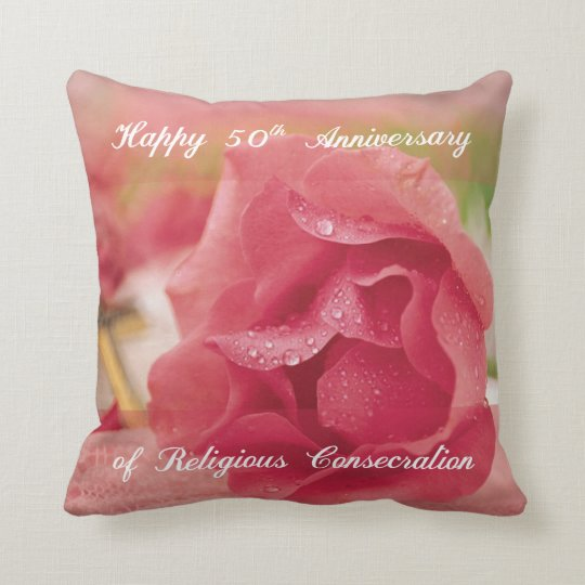50th Anniversary of Religious Consecration Rose Throw Pillow
