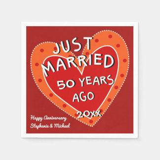 50th Anniversary or Any Year Fun Red Heart Party Paper Napkins