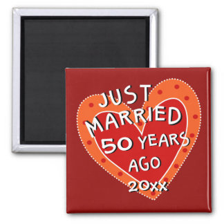50th Anniversary or Any Yr Whimsical Heart Gift Magnet