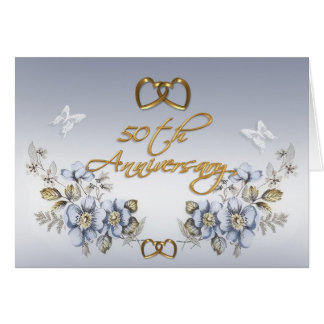 50th Anniversary Party elegant blue floral Card
