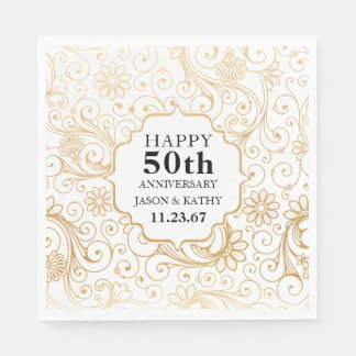50th anniversary party gold swirl pattern paper napkin