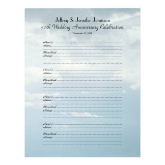 50th Anniversary Party Guest Book Sign-In Page Personalized Letterhead