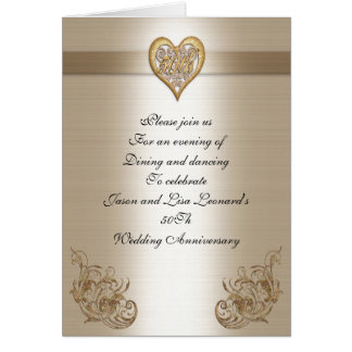 50Th anniversary party invitation gold heart