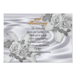 50th anniversary party invitation white roses
