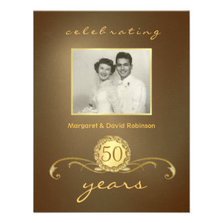50th Anniversary Party Invitations - Antique Gold