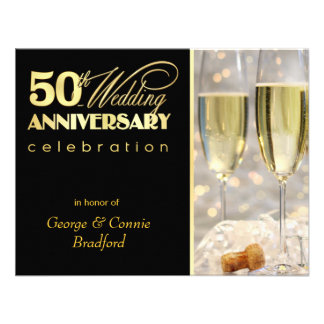 50th Anniversary Party Invitations - Black Gold