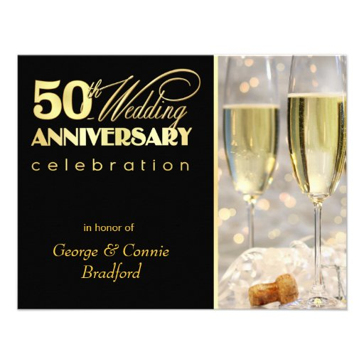 50th Anniversary Party Invitations - Black Gold