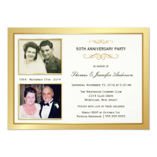 50th Anniversary Past & Present Photo Invitations