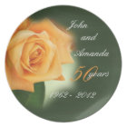 50th Anniversary Peach Rose Plate- customize Plate