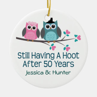 50th Anniversary Personalized Couples Gift Double-Sided Ceramic Round Christmas Ornament