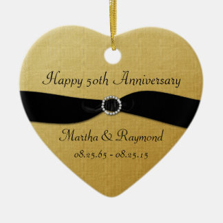 50th Anniversary Photo Gold Black Ribbon Diamonds Double-Sided Heart Ceramic Christmas Ornament